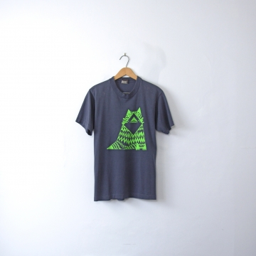 Vintage 80's graphic tee, navy blue shirt with abstract green cat, size small / medium