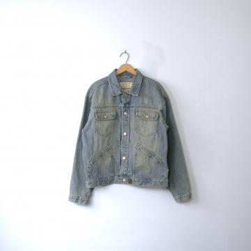 Vintage 90's grunge denim jacket, oversized jean jacket, size large