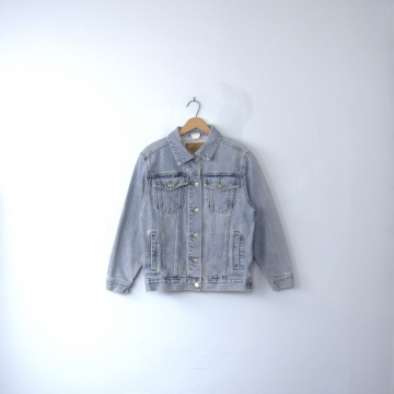 Vintage 90's grunge denim jacket, oversized jean jacket, women's size xs / small