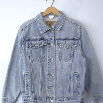 Vintage 90's grunge denim jacket, oversized jean jacket, women's size xs / small