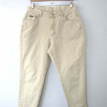 Vintage 80's high waisted jeans, mom jeans, stone beige denim, tapered leg, size 16 / 14