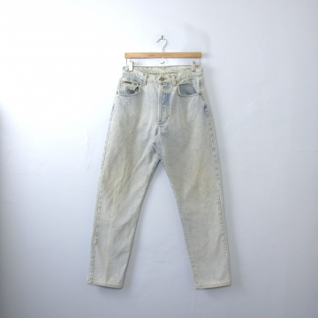 Vintage 90's Calvin Klein distressed jeans, light denim, button fly, straight leg, size 10 / 8