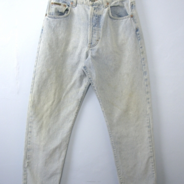 Vintage 90's Calvin Klein distressed jeans, light denim, button fly, straight leg, size 10 / 8