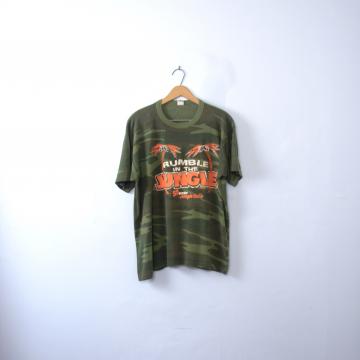 Vintage 80's Cincinnati Bengals graphic tee, 55 WKRC Jungle Radio camo shirt, size XL