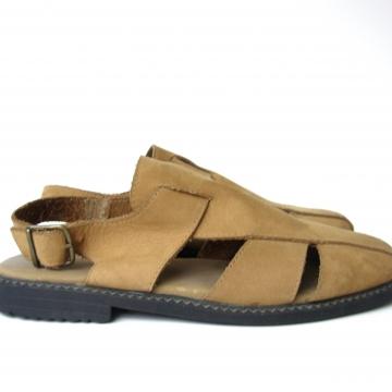 Vintage 90's Keds tan leather slingback sandals, women's size 6