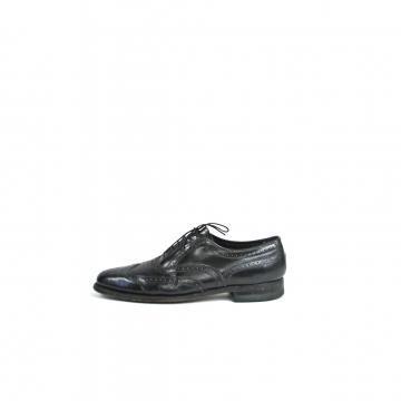 Vintage 80's Florsheim black leather shortwing wingtip brogues dress shoes, men's size 9