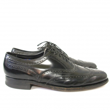 Vintage 80's Florsheim black leather shortwing wingtip brogues dress shoes, men's size 9