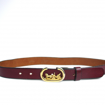 Vintage 70's burgundy leather belt with coach buckle, Garay brand belt, size small