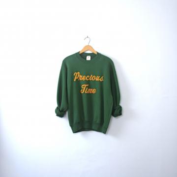 Vintage 80's Precious Time sweatshirt, dark green sweatshirt, size medium