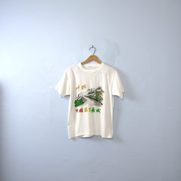 Vintage 90's graphic tee, Great Wall of China shirt with hanzi characters, size small