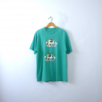 Vintage 80's blue graphic tee, distressed Disney Minnie and Mickey nautical shirt, size large