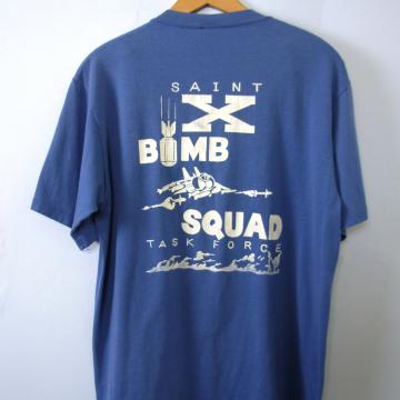 Vintage 80's blue graphic tee, Saint X Bomb Squad shirt, size large