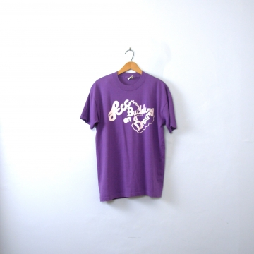 Vintage 80's purple graphic tee, Lccc Building on a Dream shirt, size large