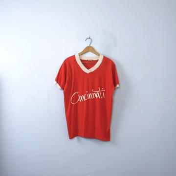 Vintage 70's red graphic tee, Cincinnati ringer shirt, size large