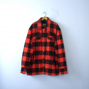 Vintage 70's red and black plaid jacket, lumberjack flannel coat with sherpa lining, men's size XXL Tall