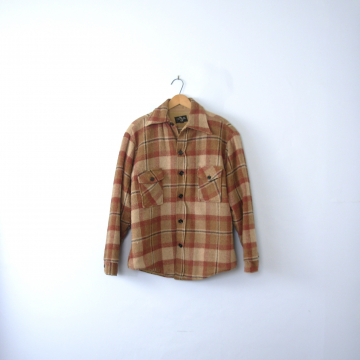 Vintage 50's brick red and brown plaid jacket, lumberjack flannel coat with sherpa lining, men's size medium