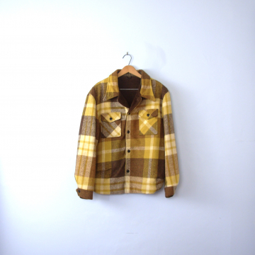Vintage 60's golden yellow plaid jacket, lumberjack flannel coat with sherpa lining, men's size medium