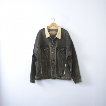 Vintage 80's grunge denim jacket, oversized jean jacket, distressed black denim, men's size XL