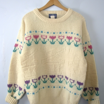 Vintage 80's Holland wool sweater, off white sweater with tulips and windmills, size large