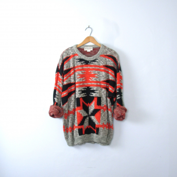 Vintage 80's black and red oversized sweater, geometric snowflake southwestern design, men's size XL